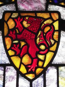 dragon shield window in King Arthur's Great Halls