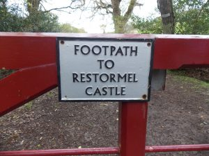 Gate for footpath to walk to Restormel Castle from Lanhydrock House
