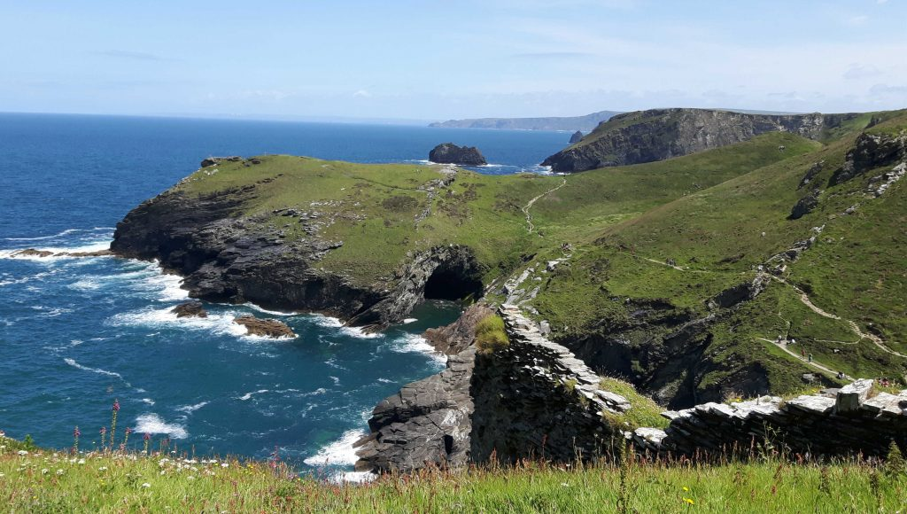 View of Tintagel Castle site
