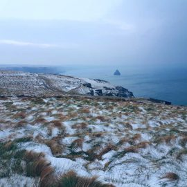 snow on Cornwall cliff near Tintagel