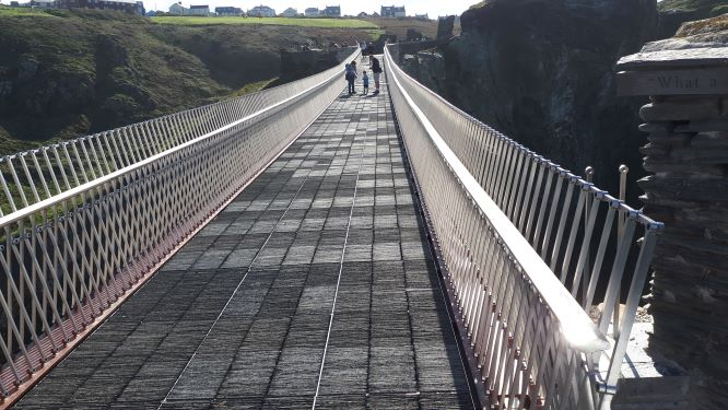 A view of the slate-walkway across Tintagel Castle bridge